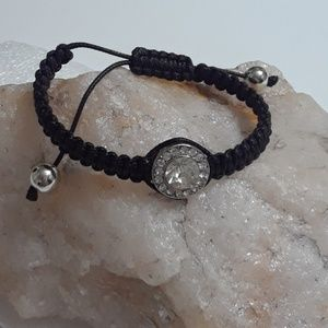 Black Braided Good Luck Bracelet With Crystals